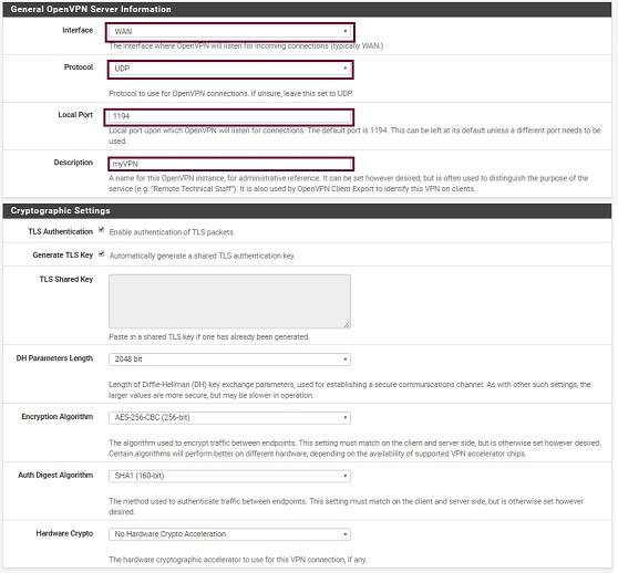 General OpenVPN server information