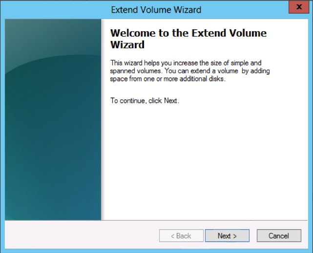 Extend Volume Wizard