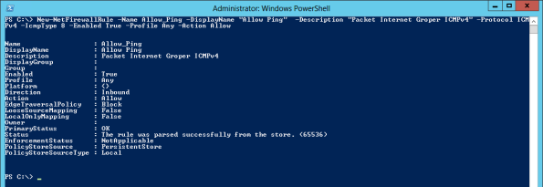 Powershell активация ICMPv4 ping на windows server 2012